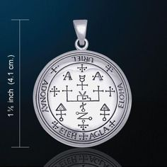 """Sigil of the Archangel Uriel Angelic Talisman Pendant - White Bronze with Silver plating AmuletThis item is 1 1/4"""" in diameter. The picture shows 1 5/8"""", which"""
