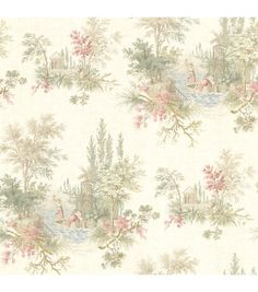A dreamy toile wallpaper in warm olive, berry and blue. Set a spellbinding scene of romance, taking you on an enchanted journey.  Unpasted Non-Woven Material21-in repeat and a straight matchComes on a