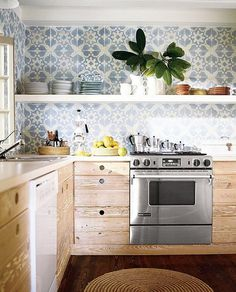"Kitchen Trends - Natural Wood Cabinets | The all-white-everything kitchen—subway tile, traditional marble and white flat-panel cabinets have reigned popular. Experts say they're ""seeing more and more 'bare wood' kitchen cabinetry—pale or cerused wood, finished naturally, not lacquered"""