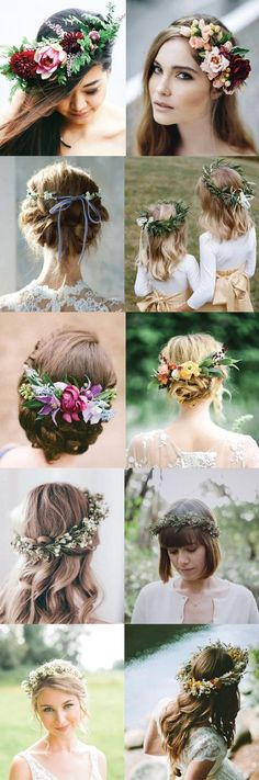 5 Ways to Style Your Wedding Hair Up! Flower crowns, ribbon back ties, and more!