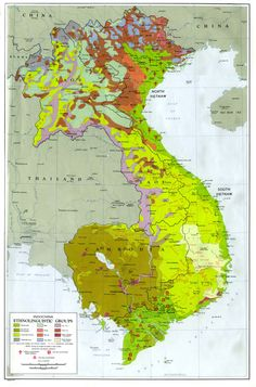 """This map from 1970 (note the labels of """"South Vietnam"""" and """"North Vietnam"""") shows ethnolinguistic groups in South East Asia."""