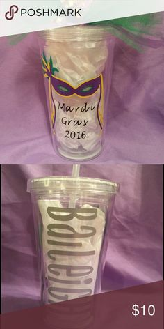 Mardi Gras tumbler. Personalized with name on back Clear, plastic tumbler with Mardi Gras mask and name on the back Other
