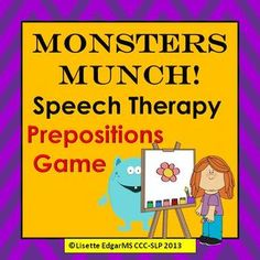 $ Monstrously fun game designed to improve your student's comprehension of basic prepositions and answering Where? questions. Teach positional concepts of under/ over, between/ beside, in front/ behind while reinforcing pronouns he/she and articulation of Initial /m/ and vocalic r at the same time!  Great for Halloween, Autumn or anytime you want to have a little monster fun! #monster #autumn #Halloween #speech pathology #language #TpT #Teachers pay Teachers #preschool #kindergarten #therapy