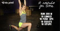 10RFT: 10 lunges, 10 push ups, 10 squats, 10 sit ups