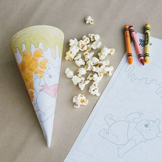 This printable Winnie the Pooh coloring page is extra fun because it folds into a cone to hold all your snacks. Encourage your little ones to get creative and decorate their own popcorn cone before your family's next movie night.