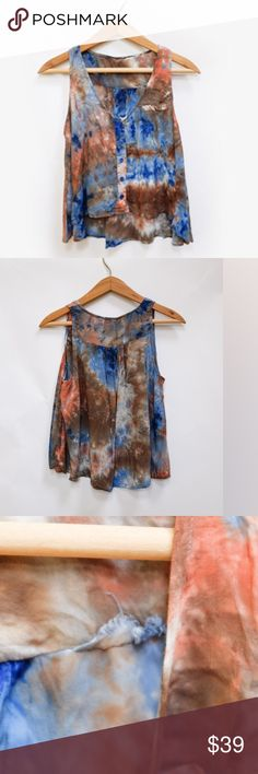 """HANDMADE WOMENS HIGH/LOW TIE DYE CROP TANK TOP, S Process is tie dye/acid wash style, lovely colors and incredible soft fabric, no tag, small area on inside where seam was repaired, otherwise great vintage condition. Laying flat 19"""", from front 10"""", bust 17"""". Fabrics are silk, rayon. HANDMADE Tops Tank Tops"""