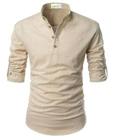 Lende Beloved Men Henley Neck Rollup Sleeve Daily Look Linen Shirts Tank Tops