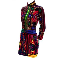 NWT 1990s Gianni Versace Vintage Dress in Bold Abstract Pattern Velvet... ($225) ❤ liked on Polyvore featuring dresses, long sleeve dress, long sleeve mini dress, long sleeve velvet dress, body con dress and short bodycon dresses
