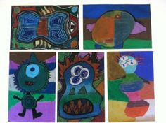 Oil Pastel Monsters- Middle school elements of art-5th grade