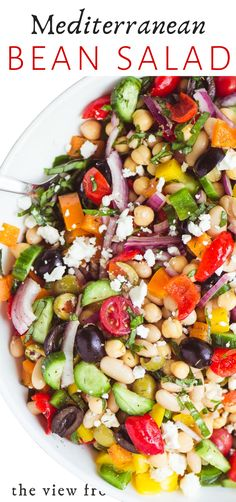 Mediterranean Bean Salad is the perfect no-mayo side salad for picnic and barbecue season plus it makes fabulous healthy packable lunches! Bean Salad Recipes, Healthy Salad Recipes, Vegetarian Recipes, Cooking Recipes, Healthy Bean Salads, Kidney Bean Salads, Black Bean Salads, Healthy Salads For Dinner, Dinner Salad Recipes