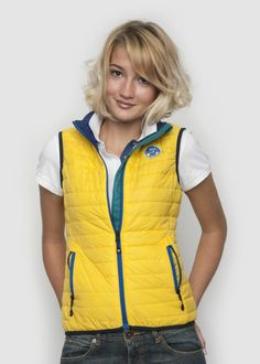 #NorthSails #collection #Spring #Summer #2014 #Woman #Jacket #Gilet #Allie #Vest #Yellow #waistcoat #Polyamid #nylon #zip #fullzip #waistocat #colour #contrasts #windflap and #inner #smanicato #giubbino #collezione #donna #Primavera #Estate