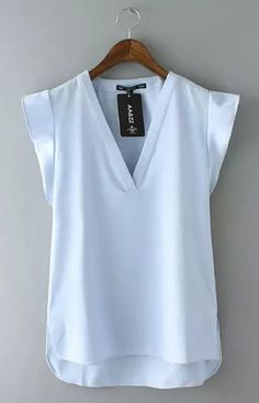 Specifications: Clothing Length:Regular Pattern Type:Solid Sleeve Style:Regular Style:Fashion Fabric Type:Chiffon Material:Polyester Collar:V-Neck Color Style:Natural Color Sleeve Length:Sleeveless Si