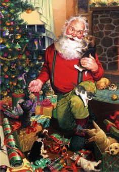 Santa's Cats and Dogs, 500 piece portrait Christmas jigsaw puzzle by Tom Newsom. Mischievious pets slow Santa down on his gift wrapping. Christmas Scenes, Father Christmas, Vintage Christmas Cards, Santa Christmas, Christmas Pictures, Christmas Mantles, Victorian Christmas, White Christmas, Christmas Ornaments
