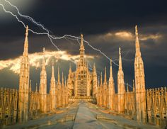 Milan Cathedral in thunder storm. Photograph by Richard Desmarais.