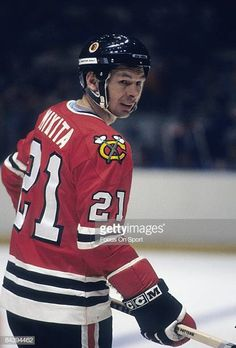 CIRCA Stan Mikita of the Chicago Blackhawks skates during an NHL Hockey game mid circa Mikita played for the Blackhawks from 195880 Rangers Hockey, Blackhawks Hockey, Hockey Mom, Chicago Blackhawks, Ice Hockey, Hockey Stuff, Hockey Games, Hockey Players, Sports Jersey Design
