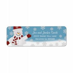 Snowman Address Labels Oh my goodness, what a cutie! Snowman wearing red mittens hat and scarf! Snowflakes falling down, how could you not get these for Christmas labels??