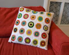 RESERVED Crocheted Colourfull Granny Square Pillow by Pirtspek