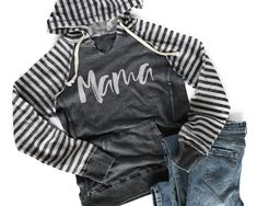 1214fa133 MAMA Vintage Striped Sleeve Hoodie *Final Sale* Declan And Crew, Mama Cloth,