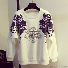 Wow~ Awesome Stylish Floral Letter Print O-neck Raglan Sleeves Girls Loose Casual Top! It only $29.99 at www.AtWish.com! I like it so much<3<3!