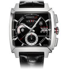 Monaco Calibre 12 LS Automatic Chronograph 40.5mm black Leather bracelet | TAG Heuer