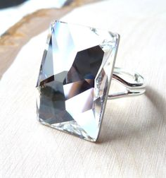 Swarovski Ring  Clear Crystal Rectangular Cocktail Ring by JBMDesigns $24.00 ***Click for more details*** #ring #jewelry #fashion #swarovski