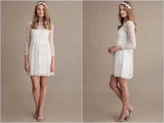 Young women wearing long sleeves short dresses with legs,