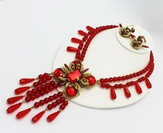 Stanley Hagler NYC Red Beads Seed Pearls Necklace and Earrings by HeirloomBandB on Etsy https://www.etsy.com/listing/177036638/stanley-hagler-nyc-red-beads-seed-pearls