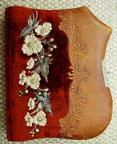 Lovely Empty Velvet Celluloid Antique Photo Album Room for 32 Cabinet Photos | eBay