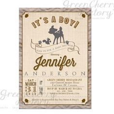 Rustic Woodland Baby Boy Shower Invitation - Wood Chevron Deer Boy Invite - Co-Ed Shower - Printable  No.546