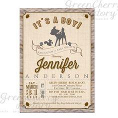 Rustic Woodland Baby Boy Shower Invitation - Wood Chevron Deer Boy Invite - Co-Ed Shower - Printable  No.546