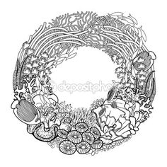 Coral reef wreath — Vector de stock