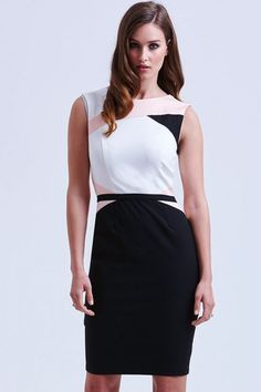 White Pink and Black Sleeveless Panel Dress. Model wears a size 10 REF: Hand wash only. Iron on reverse, do not iron trim, do not soak, wash dark colours separately. Lace Sleeves, Dresses With Sleeves, Crochet Lace Dress, Sweetheart Dress, Panel Dress, Block Dress, Hot Brunette, Dress Backs