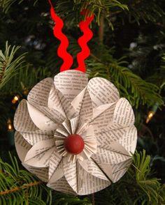 Weihnachtsdeko selber basteln papier-baumschmuck-buecherseiten