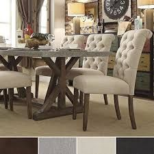 TRIBECCA HOME Benchwright Button Tufts Upholstered Rolled Back Parsons Chairs (Set of - Overstock™ Shopping - Great Deals on Tribecca Home Dining Chairs Farmhouse Dining Chairs, Dining Room Bar, Upholstered Dining Chairs, Dining Room Design, Tufted Bench, Dining Set, Fabric Dining Room Chairs, Dinning Chairs, Country Furniture