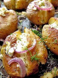 Roasted Greek Potatoes Recipe With Feta Cheese, Oregano And Onion - William Remington Potato Dishes, Vegetable Side Dishes, Vegetable Recipes, Healthy Potato Recipes, Vegetarian Recipes, Cooking Recipes, Greek Potatoes, Baby Potatoes, Roasted Potatoes