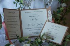 Coral open fold wedding invitations