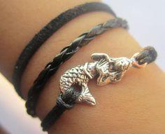 Bracelet--antique silver mermaid bracelet & double wax string chain. $4.20, via Etsy.