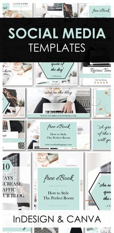 These Social Media Templates are to die for!  Take your brand or blog to the next level.  Fully editable InDesign Templates that include sizes for Facebook, Pinterest and Instagram!  PDF Instructions and Copper Metallic Swatch Included!  #template #SocialMediaTemplates