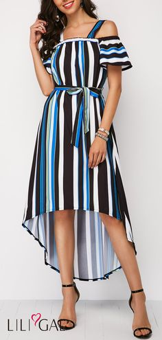 Strappy Cold Shoulder Striped High Low Belted Dress #liligal #dresses #womenswear #womensfashion