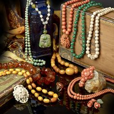 A selection of amber and organic items