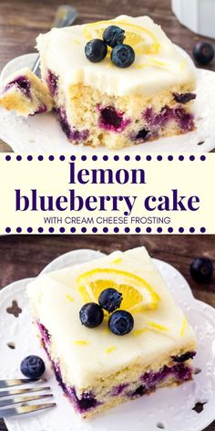 This lemon blueberry cake starts with a moist & tender lemon cake that's dotted with juicy blueberries. Then it's topped with cream cheese frosting that has just a hint of lemon. This lemon blueberry cake starts with a moist & tender lemon cake that Lemon Desserts, Summer Desserts, Just Desserts, Delicious Desserts, Yummy Food, Summer Cake Recipes, Lemon Cakes, Summer Cakes, Lemon Curd Dessert