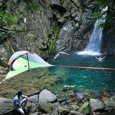 We found the perfect spot to pitch our connect hammock tent!   #ChasingWaterfalls  http://hammocktown.com/products/tentsile-connect-tree-tent