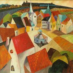 """""""Dębniki Kraków (Debniki, Cracovia)"""" 1996 Olga Kost. Olga Kost was born in 1950 in Russia. 1967 - 1973 - study in the Academy of Architecture and Art in Kiev. Until 1991 she worked as an architect. At present she lives and works in Cracow (Poland)."""