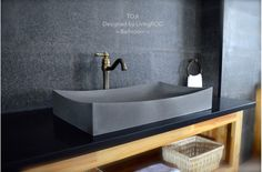 "27"" Stone Bathroom Sink Gray Basalt Concrete Look - TOJI"