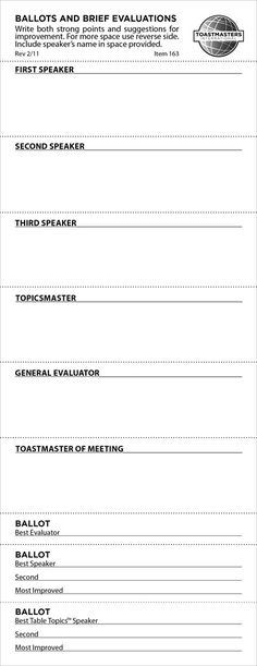 Individual Speech Evaluation Form (set of 25) escuela - meeting evaluation form