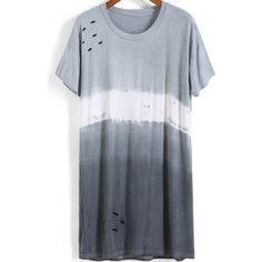 SheIn(sheinside) Grey Ombre Short Sleeve Hollow Loose T-Shirt (52 BRL) ❤ liked on Polyvore featuring tops, t-shirts, grey, short sleeve tees, cotton tee, stretch cotton t shirt, stretch t shirt e long short sleeve t shirts