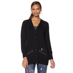 Melissa McCarthy Seven7 Boyfriend Cardigan with Zipper Detail - Missy - Black