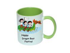 11oz Two-Tone CoffeeMug, Light Green Mug, Dragon Boat Festival Mug
