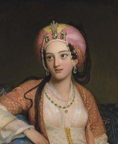 Eugène Francois Marie Joseph Devéria (French artist, 1805-1865)Roxane in Jean-Baptiste Racine's Bajazet