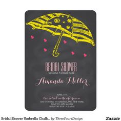Bridal Shower Umbrella Chalkboard Invitations.Elegant Chalkboard Bridal Shower Invitation Templates. Classy bridal shower invitations that you can order online. Customized for the new bride to be. Elegant bridal shower invitation that feature a nice chalkboard background, great design and typography. Click image to customize. Feel free to like or repin.